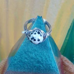 Dalmatian Jasper & Silver ring